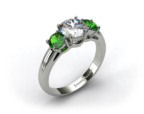 18k White Gold Three Stone Round Emerald Engagement Ring
